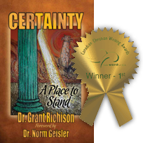 Award Winning Cover Design - Certainty Cover with Award overlay